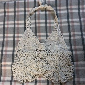 Unbranded white crochet looking crop top size S